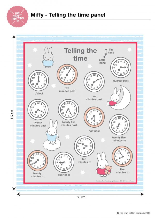 (Pre-Order) Miffy - Telling The Time - Cotton Panel (2453)