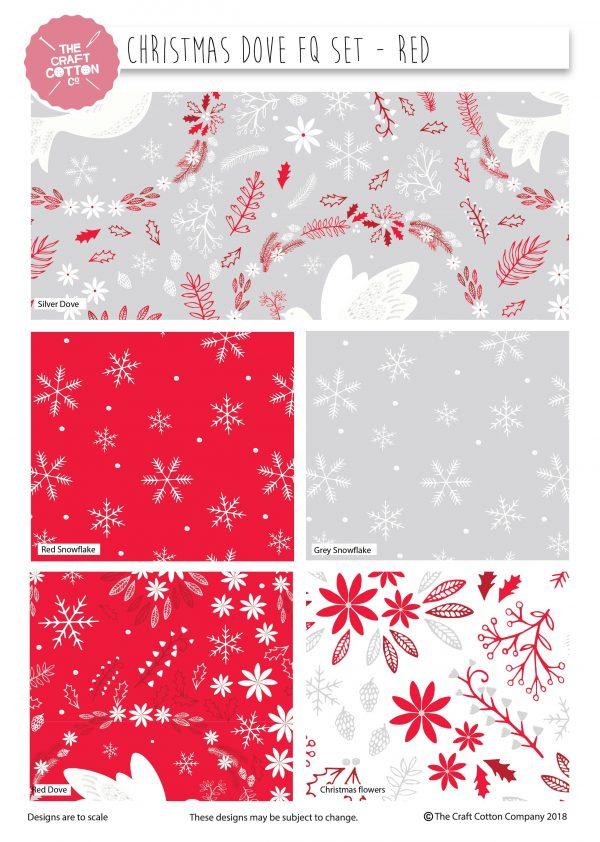(Pre-Order) Christmas Dove Red - Fat Quarters (2477)