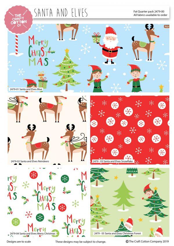 (Pre-Order) Santa & Elves Christmas - Fat Quarters (2479)