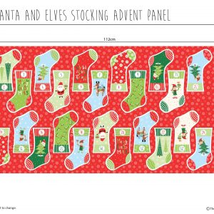 (Pre-Order) Santa & Elves Stocking Advent - Christmas Cotton Panel (2479)