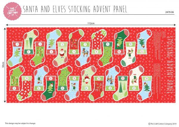 (Pre-Order) Santa & Elves Stocking Advent - Christmas Cotton Panel (2479)