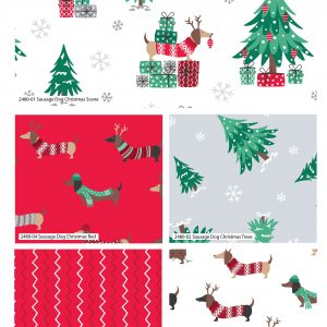 (Pre-Order) Sausage Dog Christmas - Fat Quarters (2480)