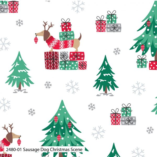 Pre Order Sausage Dog Christmas Cotton Prints 2480 Craft