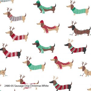 (Pre-Order) Sausage Dog Christmas - Cotton Prints (2480)