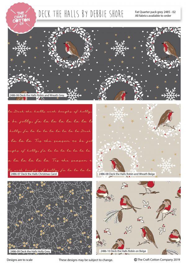(Pre-Order) Deck The Halls by Debbie Shore - Christmas Fat Quarters (2485)
