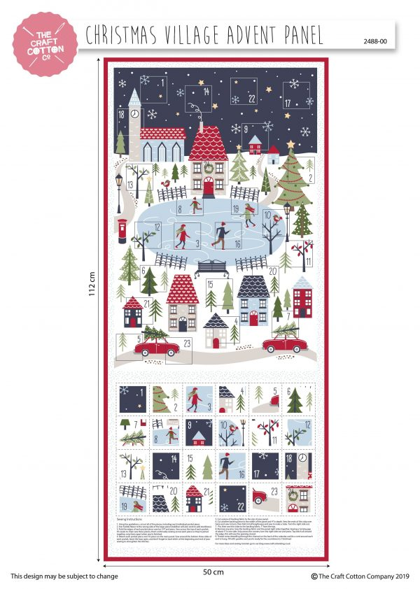 (Pre-Order) Christmas Village Advent - Christmas Cotton Panel (2488)