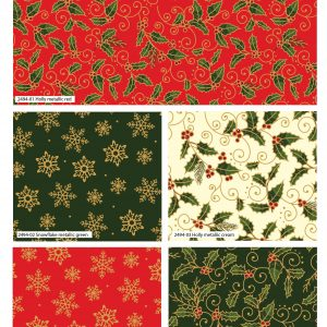 (Pre-Order) Traditional Holly Metallic Christmas - Fat Quarters (2494)