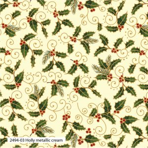 (Pre-Order) Traditional Holly Metallic Christmas - Cotton Prints (2494)