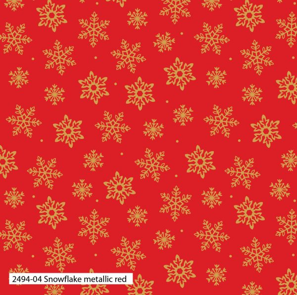 (Pre-Order) Traditional Holly Metallic Christmas - Cotton Prints (2494)