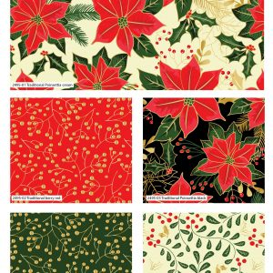 (Pre-Order) Traditional Poinsettia Metallic Christmas - Fat Quarters (2495)