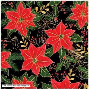 (Pre-Order) Traditional Poinsettia Metallic Christmas - Cotton Prints (2495)