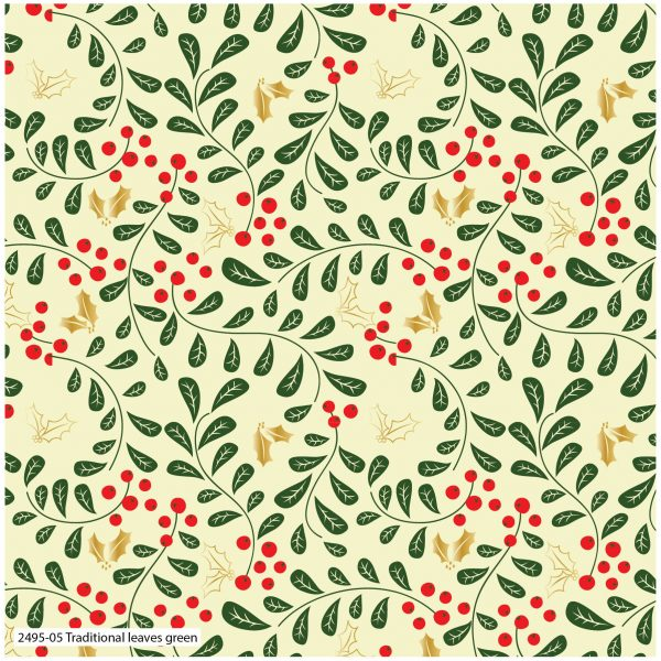 (Pre-Order) Traditional Poinsettia Metallic Christmas - Cotton Prints (2495)